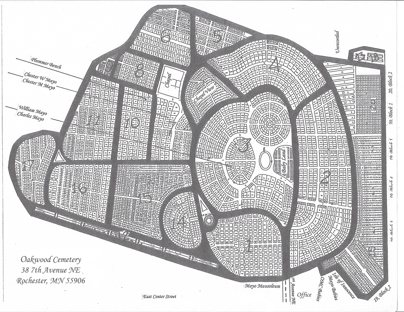Oakwood Downtown Cemetery Map