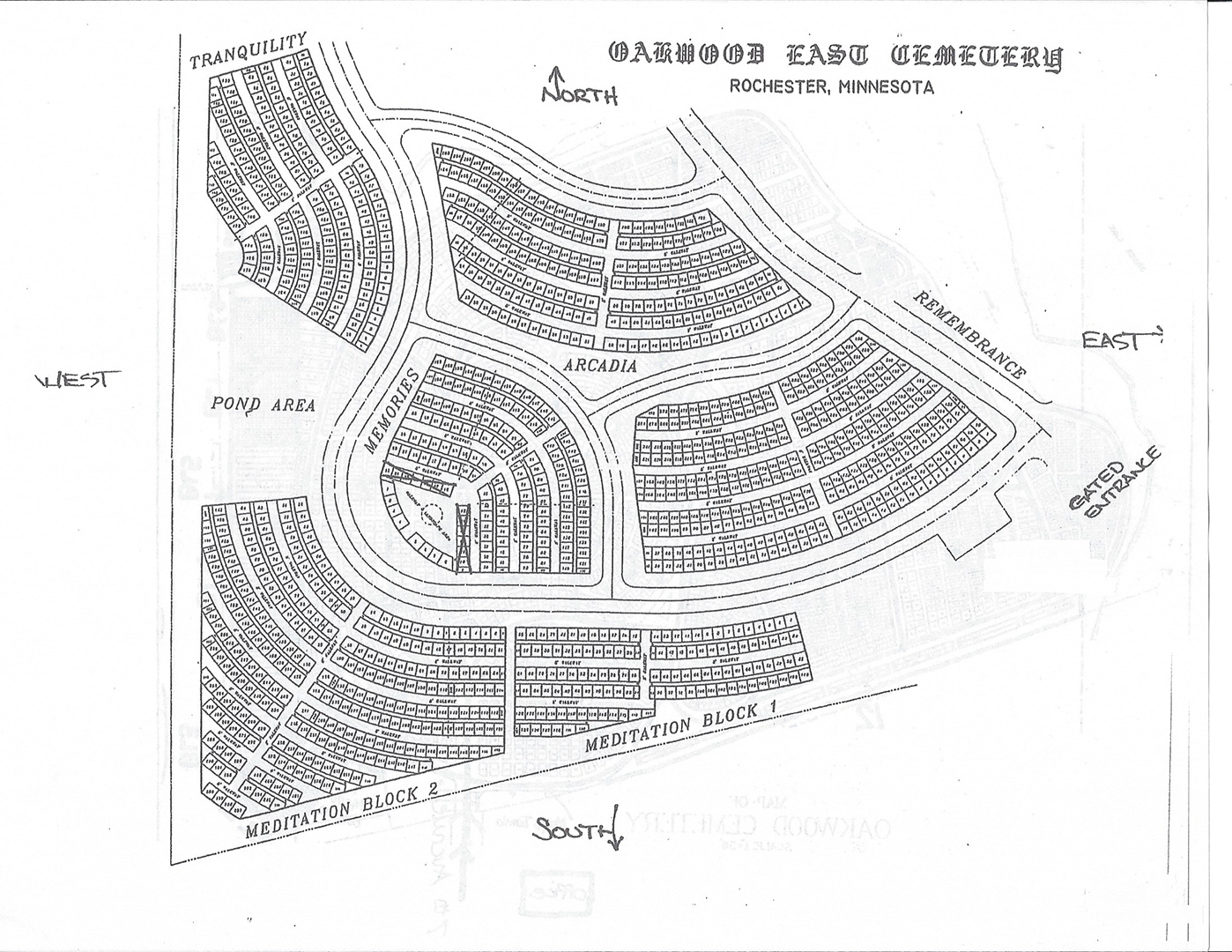 Oakwood East Cemetery Map